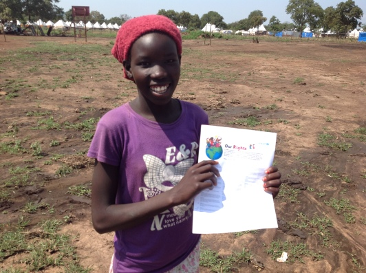 """Nyabel Bith Gath, Gambella, Ethiopia Children will gain knowledge in school and become good people. We are always thinking about our relatives left behind in south Sudan, so the article on family """"togetherness"""" is good. We as girls have the right to play because we do most of the hard work at home. So, article 28 about good education and articles 9 and 10 talking about separation from parents living together with parents are very important for me and my other families in Tierkidi camp. In the future all of us will be in school again and """"follow"""" our classes, the war will be over and there will be no discrimination."""