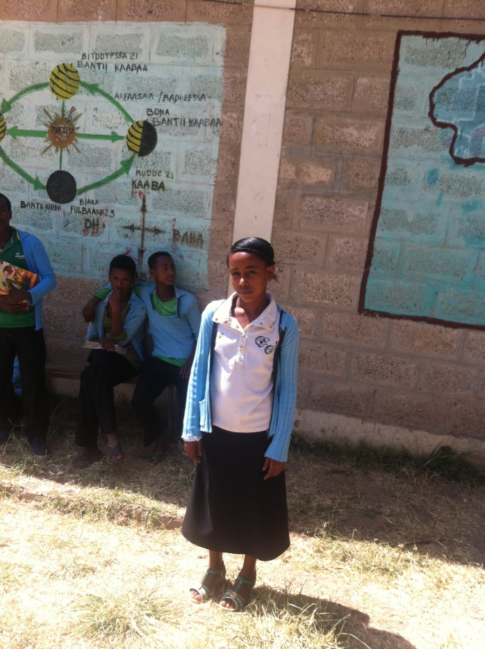 """Bizunesh Ejersa, 13, Grade 8 student at Dima primary school, Sebeta, Oromia Ethiopia """"Children may not know their rights. Since they are the futures of the country, they need to grow freely. '' ''The right for education is the most important to me. If children are educated today, they will be useful citizens for their family and country tomorrow'' """"Yes, repeatedly. What I would like to tell adults is, instead of ignoring children's' ideas they need to listen to children, accept their views and do what is good, so that they can be good citizens who will be leading the country in the future'' ''I wish, all the community members have the awareness about the rights of children, including those disabled children that are not going to school, and all children growing freely with their all rights respected'' """"What I would like to add is, there is a misunderstanding in the community and girls are undermined, they think sending girls to school is of no use. But, without the involvement of girls/women, there will not be a complete development, like in marriage, the marriage will be incomplete without women. Therefore, I think the community need to change their mind and send girls to school."""""""